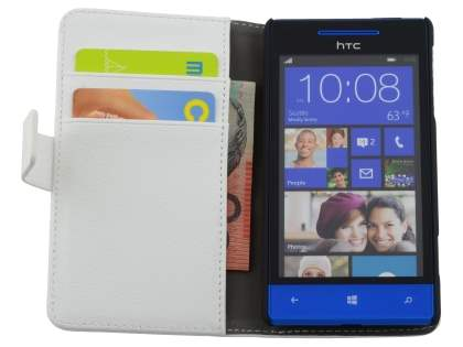 Synthetic Leather Wallet Case with Stand for HTC Windows Phone 8S - Pearl White