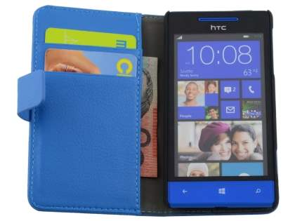HTC Windows Phone 8S Synthetic Leather Wallet Case with Stand - Blue