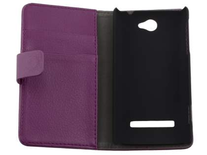 HTC Windows Phone 8S Synthetic Leather Wallet Case with Stand - Purple