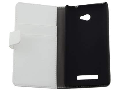 HTC Windows Phone 8X Synthetic Leather Wallet Case with Stand - Pearl White