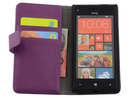 HTC Windows Phone 8X Synthetic Leather Wallet Case with Stand - Purple