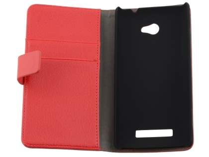 Synthetic Leather Wallet Case with Stand for HTC Windows Phone 8X - Red