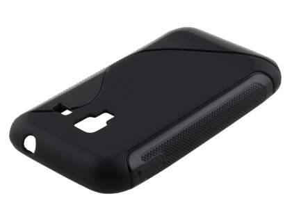 Samsung Galaxy Ace Plus S7500 Wave Case - Frosted Black/Black