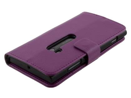 Nokia Lumia 920 Synthetic Leather Wallet Case with Stand - Purple