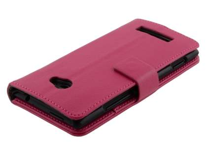 HTC Windows Phone 8X Synthetic Leather Wallet Case with Stand - Pink