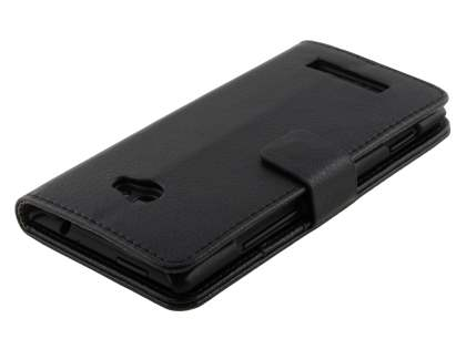 HTC Windows Phone 8X Synthetic Leather Wallet Case with Stand - Classic Black