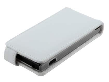 Sony Xperia Sola MT27i Genuine Leather Flip Case - Pearl White