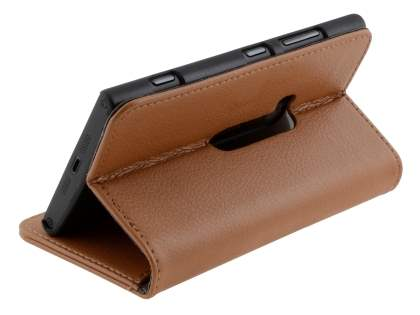 Synthetic Leather Wallet Case with Stand for Nokia Lumia 920 - Brown