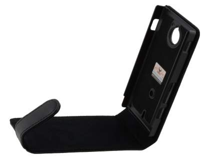 Sony Xperia Sola MT27i Genuine Leather Flip Case - Black