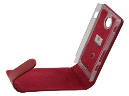 Sony Xperia Sola MT27i Genuine Leather Flip Case - Red
