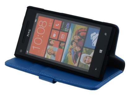 HTC Windows Phone 8X Synthetic Leather Wallet Case with Stand - Blue