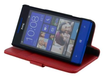 HTC Windows Phone 8S Synthetic Leather Wallet Case with Stand - Red