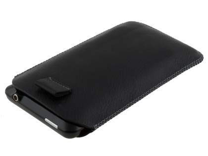 Synthetic Leather Slide-in Case with Pull-out Strap for HTC Velocity 4G - Classic Black