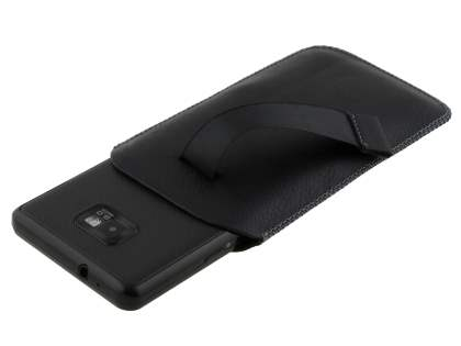 Synthetic Leather Slide-in Case with Pull-out Strap for Samsung I9100 Galaxy S2 - Classic Black