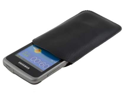 Synthetic Leather Slide-in Case with Pull-out Strap for Samsung Galaxy Xcover S5690 - Classic Black
