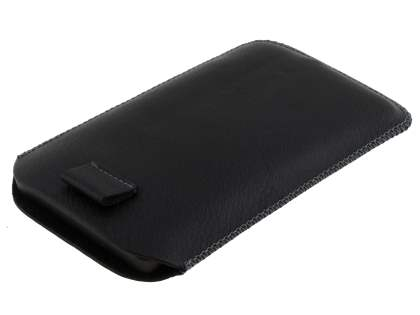 Synthetic Leather Slide-in Case with Pull-out Strap for HTC Touch HD2 - Classic Black