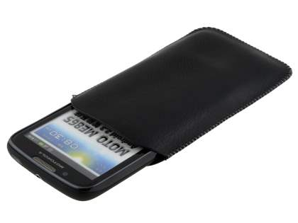 Synthetic Leather Slide-in Case with Pull-out Strap for Motorola ATRIX 2 MB865 - Classic Black
