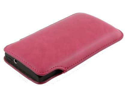 Genuine Leather Slide-in Case for Sony Xperia S LT26i  - Hot Pink