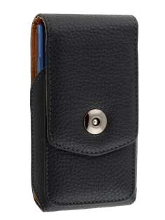 Textured Synthetic Leather Vertical Belt Pouch with Buckle (Bumper Case Compatible) - Belt Pouch