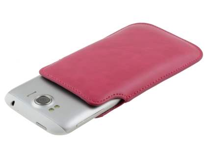 Genuine Leather Slide-in Case for HTC Sensation XL - Hot Pink