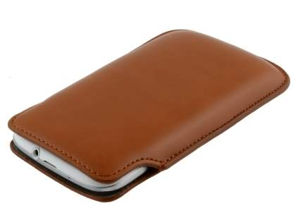 Genuine Leather Slide-in Case for Samsung Galaxy S3/S4 - Brown