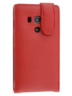 Genuine Leather Flip Case for Sony Xperia acro S LT26w - Red Leather Flip Case