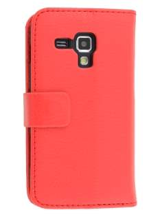 Synthetic Leather Wallet Case with Stand for Samsung Galaxy Trend S7560/S Duos S7562 - Red