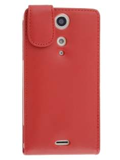 Genuine Leather Flip Case for Sony Xperia TX LT29i - Red Leather Flip Case