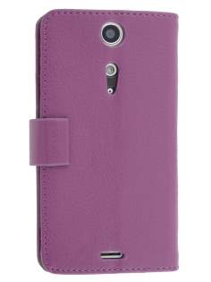 Synthetic Leather Wallet Case with Stand for Sony Xperia TX LT29i - Purple Leather Wallet Case