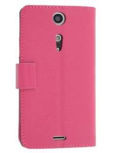 Synthetic Leather Wallet Case with Stand for Sony Xperia TX LT29i - Pink Leather Wallet Case