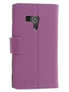 Sony Xperia acro S LT26w Slim Synthetic Leather Wallet Case with Stand - Purple