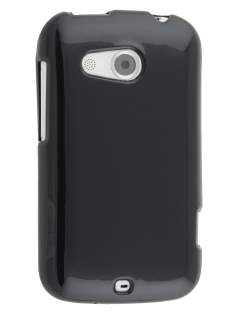 Frosted Colour TPU Gel Case for HTC Desire C A320E - Black Soft Cover