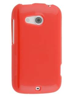Frosted Colour TPU Gel Case for HTC Desire C A320E - Red Soft Cover