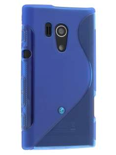 Sony Xperia acro S LT26w Wave Case - Frosted Blue/Blue