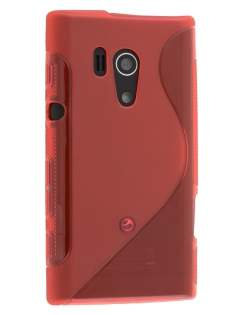 Wave Case for Sony Xperia acro S LT26w - Frosted Red/Red Soft Cover
