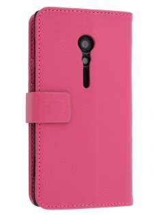 Synthetic Leather Wallet Case with Stand for Sony Xperia ion LTE lt28i - Pink Leather Wallet Case