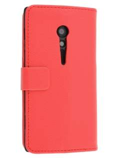 Synthetic Leather Wallet Case with Stand for Sony Xperia ion LTE lt28i - Red Leather Wallet Case
