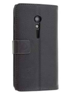 Synthetic Leather Wallet Case with Stand for Sony Xperia ion LTE lt28i - Classic Black Leather Wallet Case