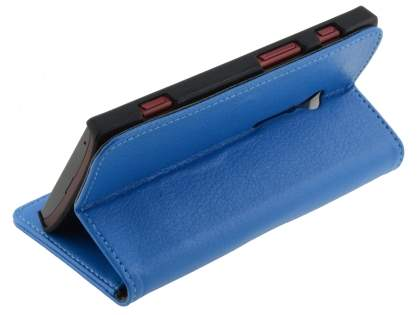 Sony Xperia ion LTE lt28i Slim Synthetic Leather Wallet Case with Stand - Blue