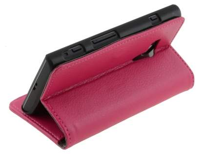 Sony Xperia acro S LT26w Slim Synthetic Leather Wallet Case with Stand - Pink