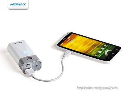 Momax iPower S2 External Battery Recharger with LED Flashlight for HTC - Pearl White
