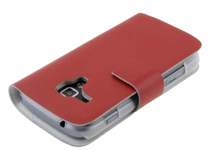 Slim Genuine Leather Portfolio Case for Samsung Galaxy Trend S7560/S Duos S7562 - Red