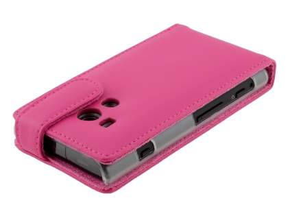 Sony Xperia acro S LT26w Genuine Leather Flip Case - Pink