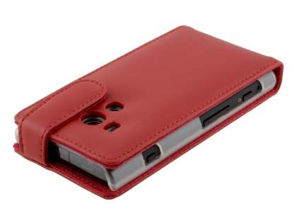 Sony Xperia acro S LT26w Genuine Leather Flip Case - Red