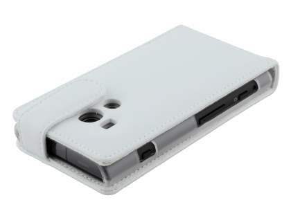 Sony Xperia acro S LT26w Genuine Leather Flip Case - Pearl White