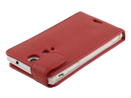 Genuine Leather Flip Case for Sony Xperia TX LT29i - Red
