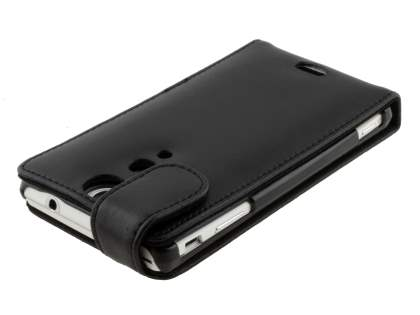 Sony Xperia TX LT29i Genuine Leather Flip Case - Classic Black