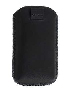 Synthetic Leather Slide-in Case with Pull-out Strap for Sony Xperia go ST27i - Classic Black