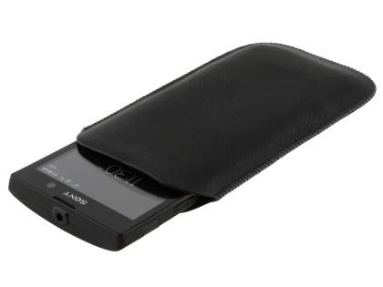 Synthetic Leather Slide-in Case with Pull-out Strap for Sony Xperia ion LTE lt28i - Classic Black