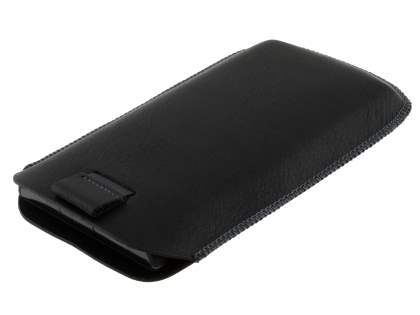 Synthetic Leather Slide-in Case with Pull-out Strap for Sony Xperia acro S LT26w - Classic Black